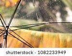 umbrella and rain drops closeup | Shutterstock . vector #1082233949