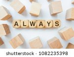 always word on wooden cubes | Shutterstock . vector #1082235398