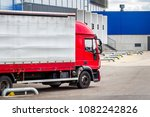 truck with trailer on loading... | Shutterstock . vector #1082242826
