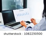 woman's hand typing on laptop... | Shutterstock . vector #1082250500