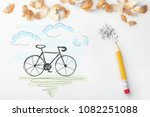 Small photo of draw a bicycle and pencil
