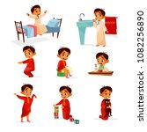 muslim boy kid daily routine... | Shutterstock .eps vector #1082256890
