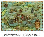ancient caribbean sea map with...   Shutterstock . vector #1082261570