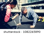 man doing a push up | Shutterstock . vector #1082265890