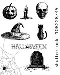 Stock vector hand drawn halloween related items 108228749