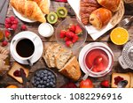 continental breakfast with... | Shutterstock . vector #1082296916
