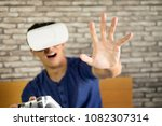 the vr headset design is... | Shutterstock . vector #1082307314