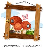 mushroom and insect on wooden... | Shutterstock .eps vector #1082320244