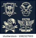 classic motorcycle emblems ... | Shutterstock .eps vector #1082327003