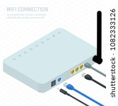 isometric white wireless wi fi... | Shutterstock .eps vector #1082333126