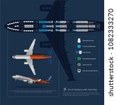 set of airplane with seat map... | Shutterstock .eps vector #1082333270
