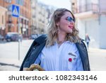 happy smiling fashionable plus... | Shutterstock . vector #1082343146