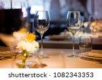 empty glasses wine in... | Shutterstock . vector #1082343353