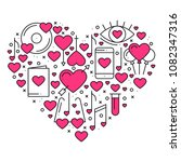 heart with love symbols in line ... | Shutterstock .eps vector #1082347316