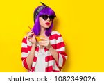 young girl with purple hair... | Shutterstock . vector #1082349026