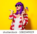 young girl with purple hair...   Shutterstock . vector #1082349029