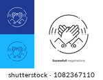 line art high five. rised hands ... | Shutterstock .eps vector #1082367110