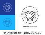 line art high five. rised hands ... | Shutterstock .eps vector #1082367110