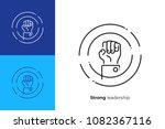 line art rised fist. leadership ... | Shutterstock .eps vector #1082367116