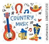country music handdrawn... | Shutterstock .eps vector #1082372153