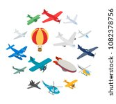aviation icons in isometric 3d... | Shutterstock .eps vector #1082378756