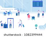 different people sitting and... | Shutterstock .eps vector #1082399444