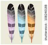 set of colored feathers. ... | Shutterstock .eps vector #108240188