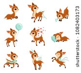flat vector set of cute fawn in ... | Shutterstock .eps vector #1082403173