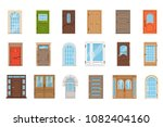 colorful front doors.... | Shutterstock .eps vector #1082404160