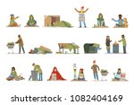 homeless people characters set. ...   Shutterstock .eps vector #1082404169