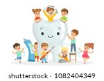 little children take care of... | Shutterstock .eps vector #1082404349