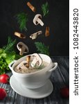 mushroom cream soup decorated... | Shutterstock . vector #1082443820