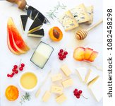 cheese  honey and fruits. plate ... | Shutterstock . vector #1082458298