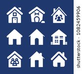 set of 9 home filled icons such ... | Shutterstock .eps vector #1082459906