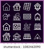 set of 16 house outline icons... | Shutterstock .eps vector #1082462090