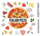 top view delicious italian... | Shutterstock .eps vector #1082475869