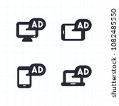 ads on devices   cutout icons.... | Shutterstock .eps vector #1082485550