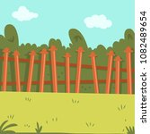 backyard with wooden fence ... | Shutterstock .eps vector #1082489654