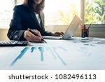 business women working together ... | Shutterstock . vector #1082496113