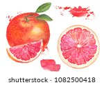 grapefruit with leaf and... | Shutterstock . vector #1082500418
