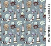 seamless pattern with cute... | Shutterstock .eps vector #1082506856