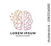 geometric brain tech logo... | Shutterstock .eps vector #1082516000