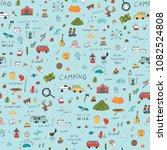 summer camping doodle...   Shutterstock . vector #1082524808