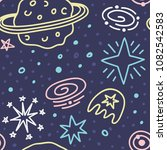 space galaxy childish seamless... | Shutterstock .eps vector #1082542583