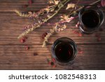 shots of alcoholic drink on... | Shutterstock . vector #1082548313