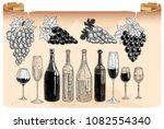 wine bottles and glasses set ... | Shutterstock .eps vector #1082554340