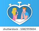 young man and woman speaking to ... | Shutterstock .eps vector #1082555834