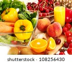 fresh vegetable and fruit and... | Shutterstock . vector #108256430