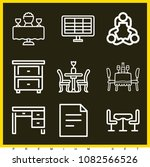 set of 9 table outline icons...   Shutterstock .eps vector #1082566526