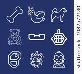 set of 9 animals outline icons... | Shutterstock .eps vector #1082572130